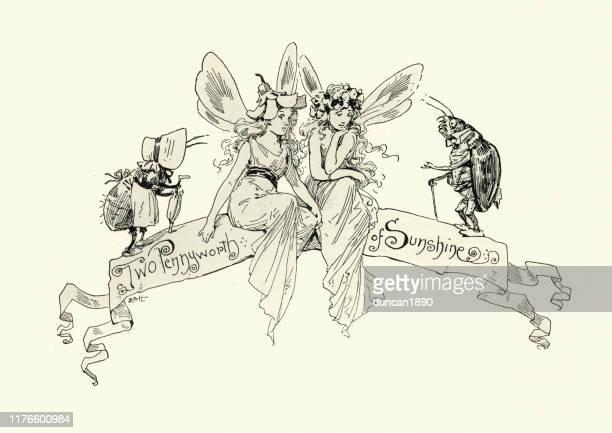 victorian fairies, fairy tale, two pennyworth of sunshine - fairy stock illustrations