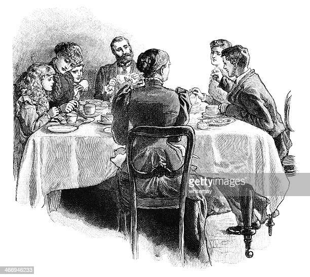 Victorian family around the tea table