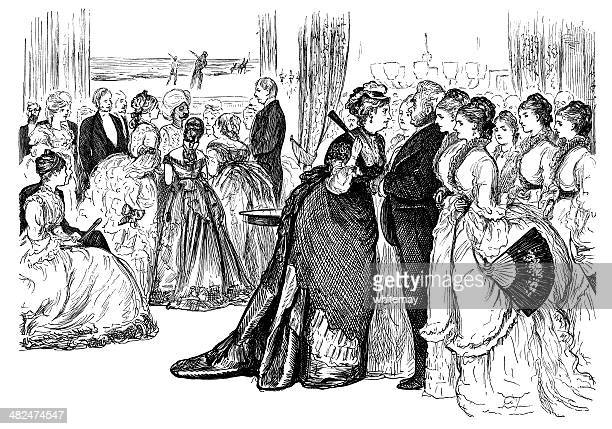 Victorian family at an evening event