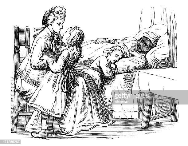 ilustrações, clipart, desenhos animados e ícones de victorian família cuidando de um doente mulher afro-caribenha - história afro americana nos eua