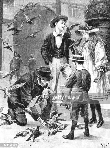 victorian family feeding wild birds - straw boater hat stock illustrations