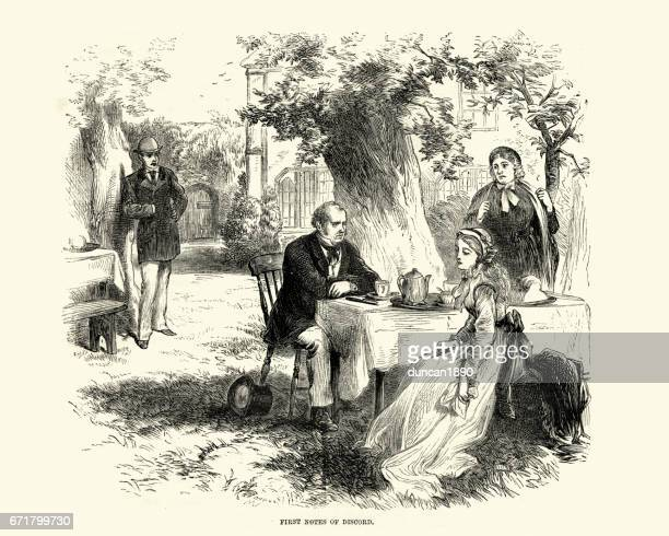 Victorian family having tea in the garden
