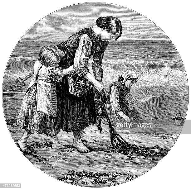 Victorian família em uma Praia (1875 ilustração