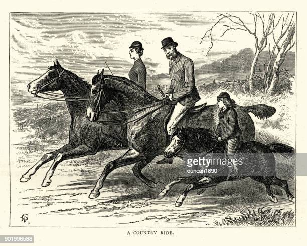 victorian family out riding horses in the country - pony stock illustrations, clip art, cartoons, & icons