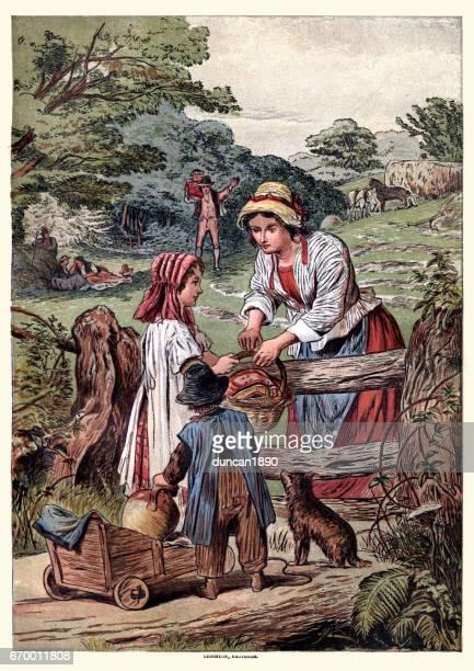 victorian family picnic, c.1870 - picnic blanket stock illustrations, clip art, cartoons, & icons