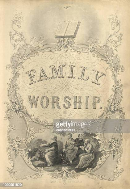 Victorian family worship, 1860s, 19th Century