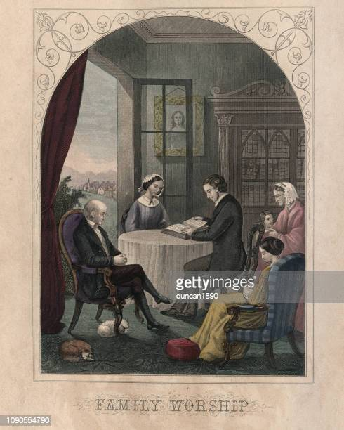 Victorian family worship, studying the bible together on a Sunday