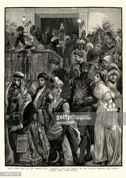 victorian fancy dress ball, 19th century - evening ball stock illustrations