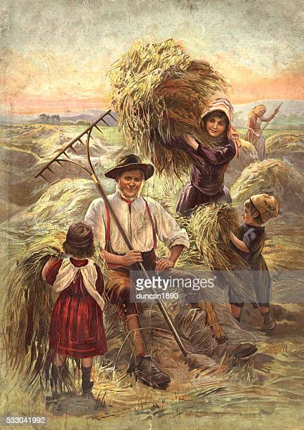 Victorian farmer and children harvesting hay.