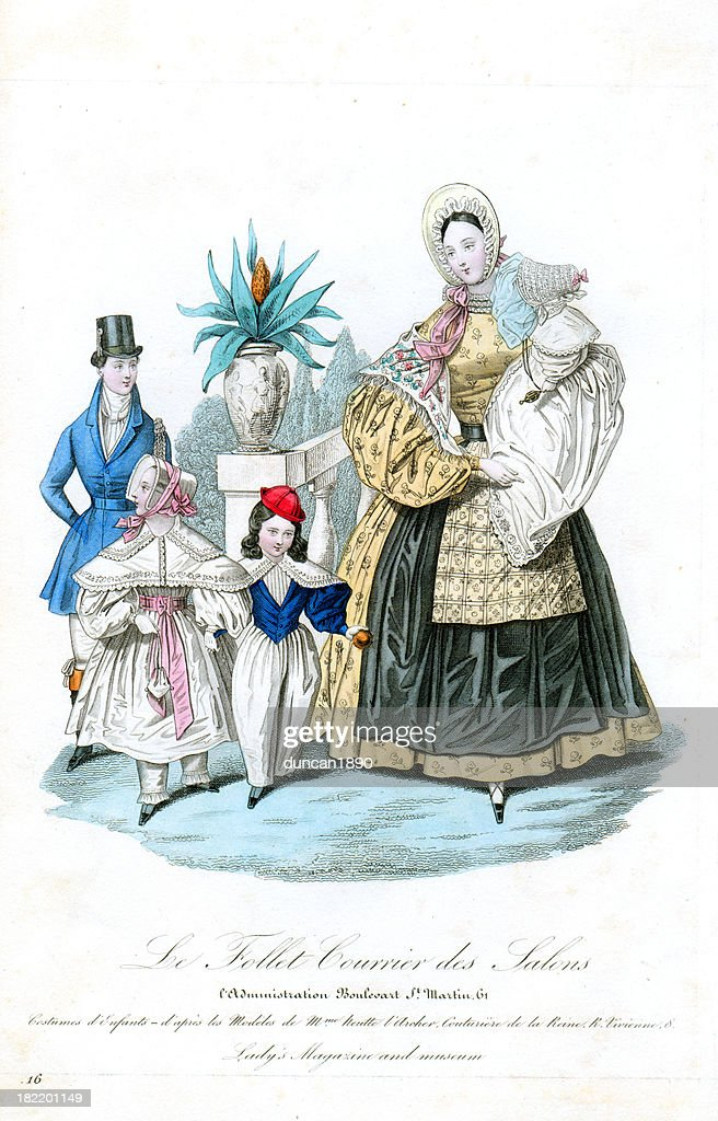 Victorian Fashion Mother and Children : stock illustration