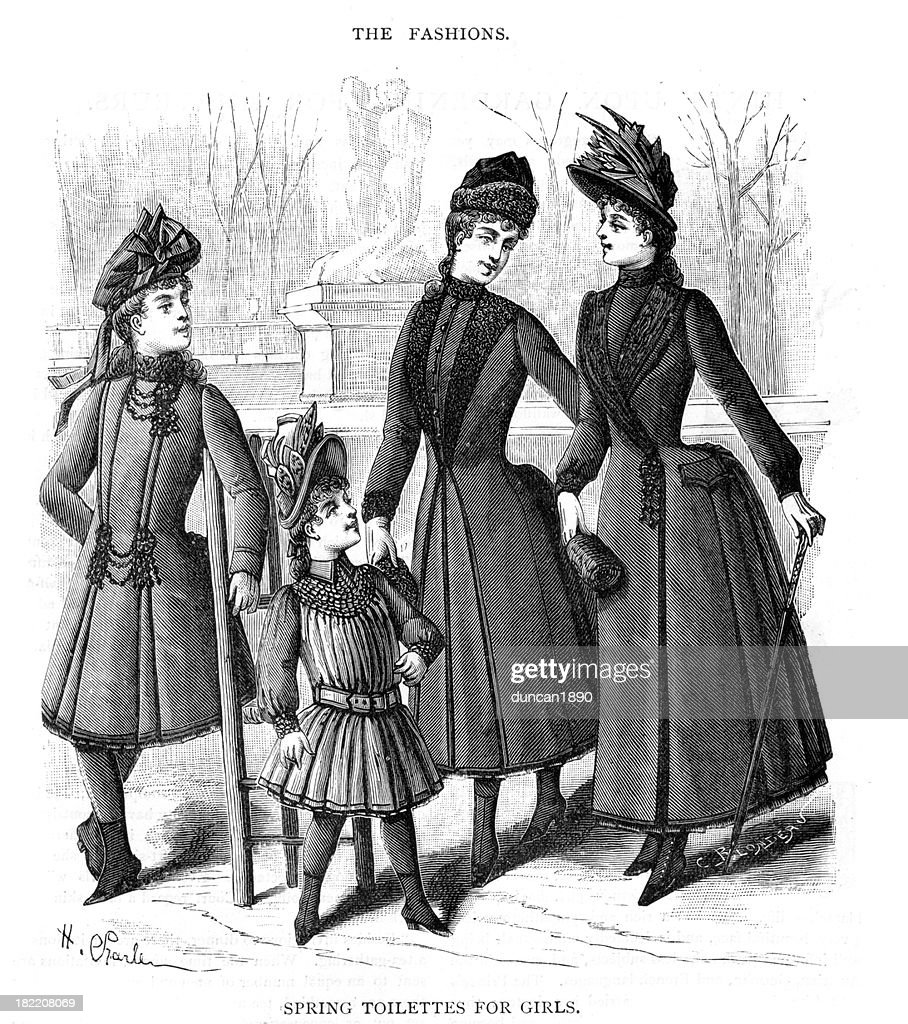 Victorian moda Primavera de roupas para meninas do século XIX : Ilustração