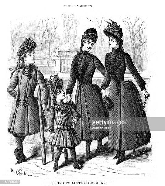 ilustrações, clipart, desenhos animados e ícones de victorian moda primavera de roupas para meninas do século xix - sunday best