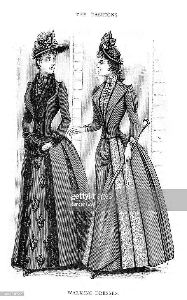 Victorian Fashion Walking Dresses 19th Century : stock illustration