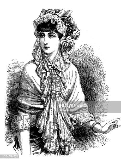 victorian fashion woman ,ball mantle with hood - en búsqueda stock illustrations