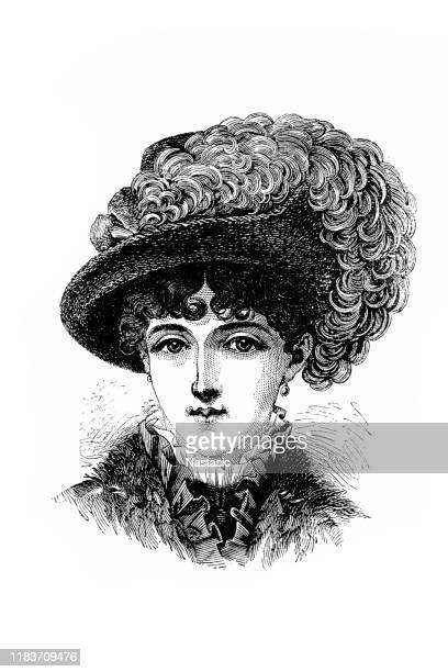 victorian fashion woman ,rembrandt hat - lace dress stock illustrations
