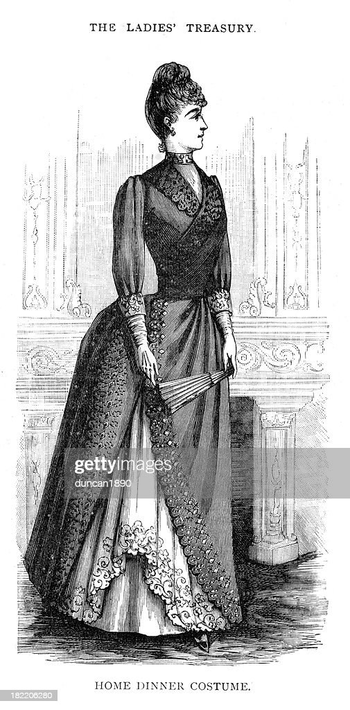 Victorian Fashion Young Woman 19th Century : stock illustration