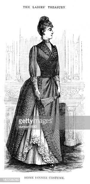 victorian fashion young woman 19th century - sunday best stock illustrations, clip art, cartoons, & icons