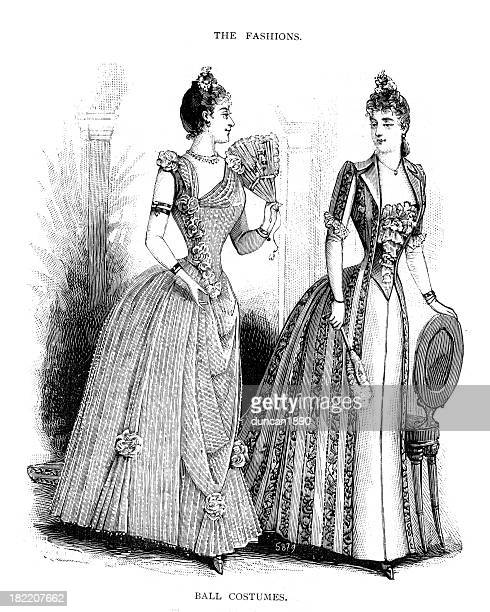 victorian fashion young woman 19th century - en búsqueda stock illustrations