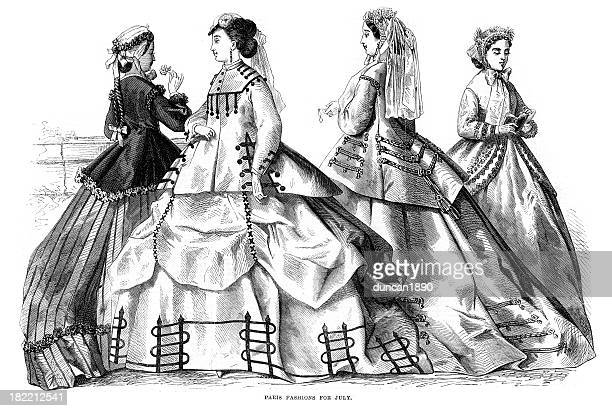 victorian fashion young women 19th century - sunday best stock illustrations, clip art, cartoons, & icons