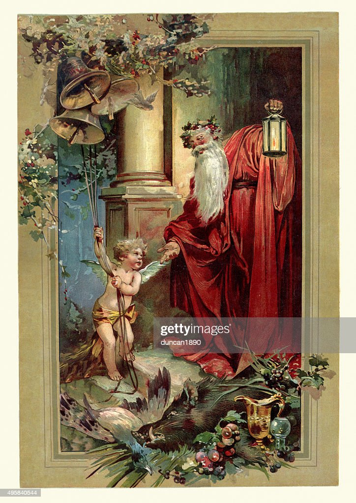 Victorian Father Christmas and Cupid : stock illustration