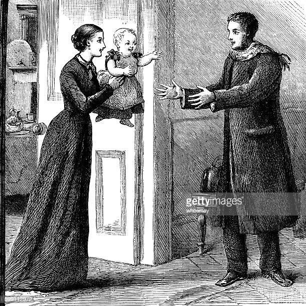 ilustrações de stock, clip art, desenhos animados e ícones de victorian father's return home - bebe chegando