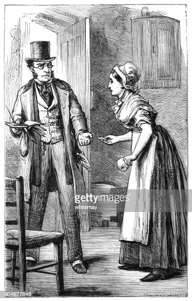 victorian female tenant paying the rent collector - accounting ledger stock illustrations, clip art, cartoons, & icons