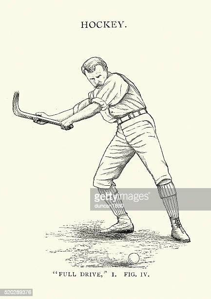 ilustraciones, imágenes clip art, dibujos animados e iconos de stock de campo victoriana jugador de hockey - hockey sobre hierba