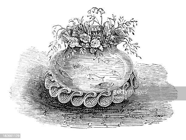 illustrations, cliparts, dessins animés et icônes de victorian bocal à poissons - poisson rouge