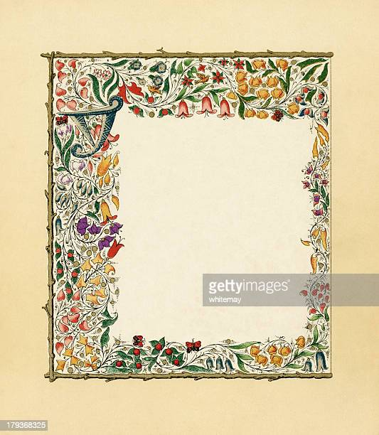 victorian floral border with butterflies - art nouveau stock illustrations, clip art, cartoons, & icons