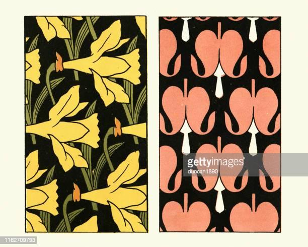 illustrations, cliparts, dessins animés et icônes de motif floral victorien, jonquille et fleur rose, 19ème siècle - image du xixème siècle
