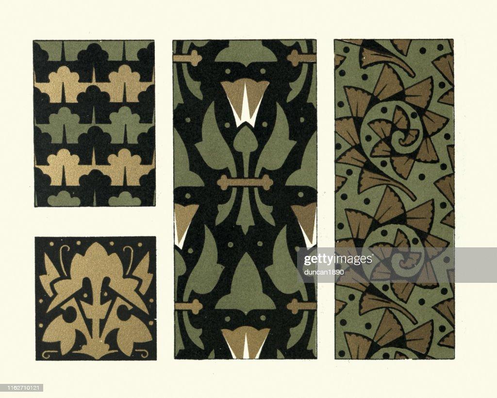 Victorian floral design pattern, Green, Black, Gold, 19th Century : Stock Illustration