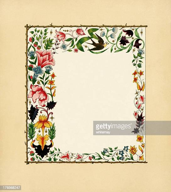 Victorian floral フレーム、ツバメ