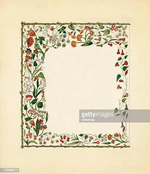 ilustraciones, imágenes clip art, dibujos animados e iconos de stock de victoriano marco floral con creepers - enredadera