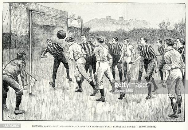 victorian football match - heading the ball stock illustrations