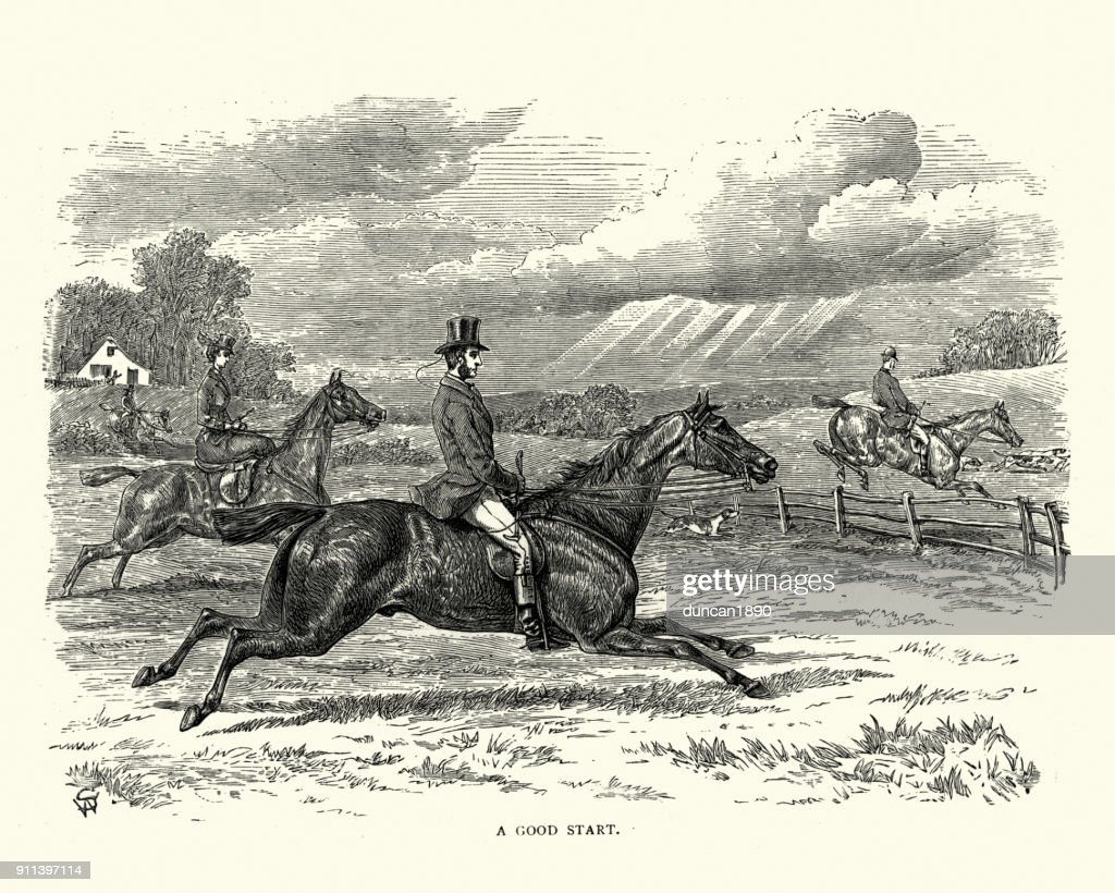 Victorian Fox Hunting Party Riding Across Countryside High ...