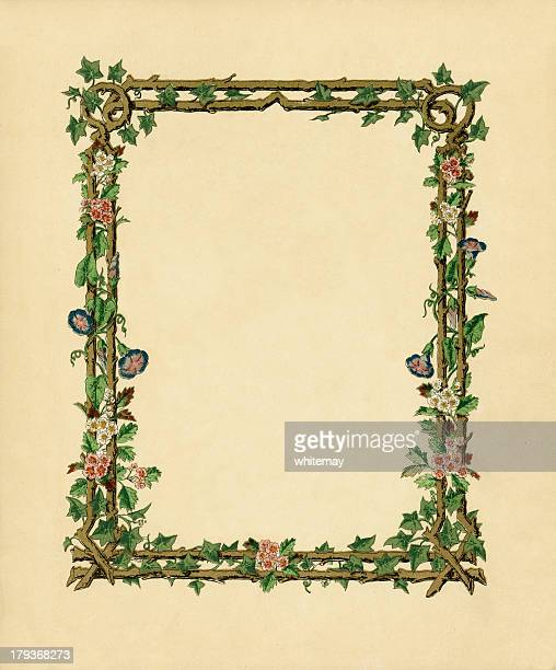victorian frame with wild roses and convolvulus - art nouveau stock illustrations, clip art, cartoons, & icons