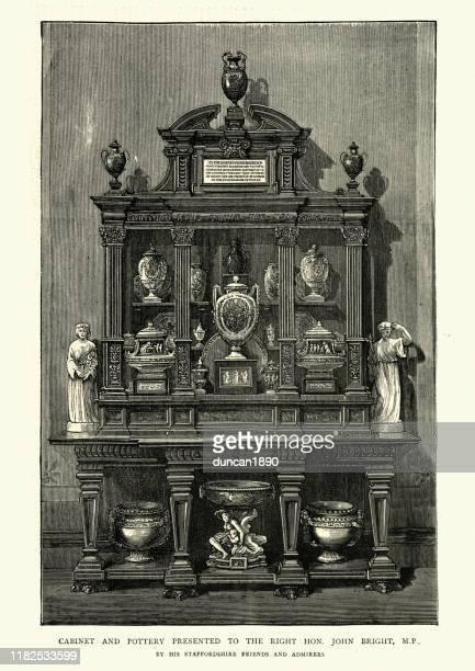 victorian furniture, display cabinet and pottery, 19th century - display cabinet stock illustrations, clip art, cartoons, & icons