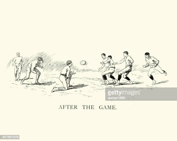 victorian game of rugby - rugby ball stock illustrations, clip art, cartoons, & icons