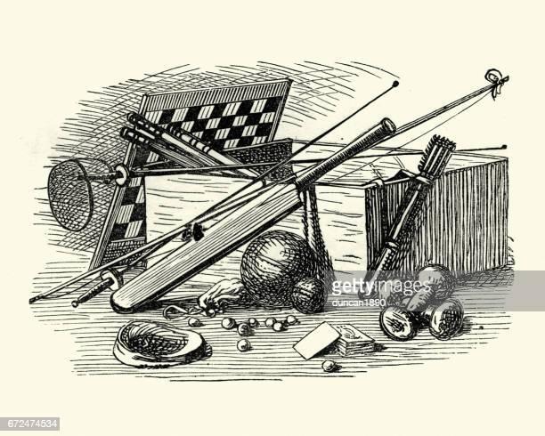 ilustraciones, imágenes clip art, dibujos animados e iconos de stock de victoriana juegos y equipamiento deportivo - tablero de ajedrez