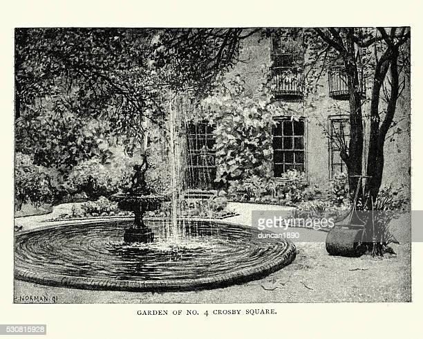 victorian garden, crosby square, london, england - fountain stock illustrations, clip art, cartoons, & icons