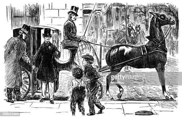 victorian gentleman being teased by street urchins - teasing stock illustrations, clip art, cartoons, & icons
