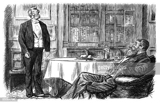 Victorian gentleman instructing his butler