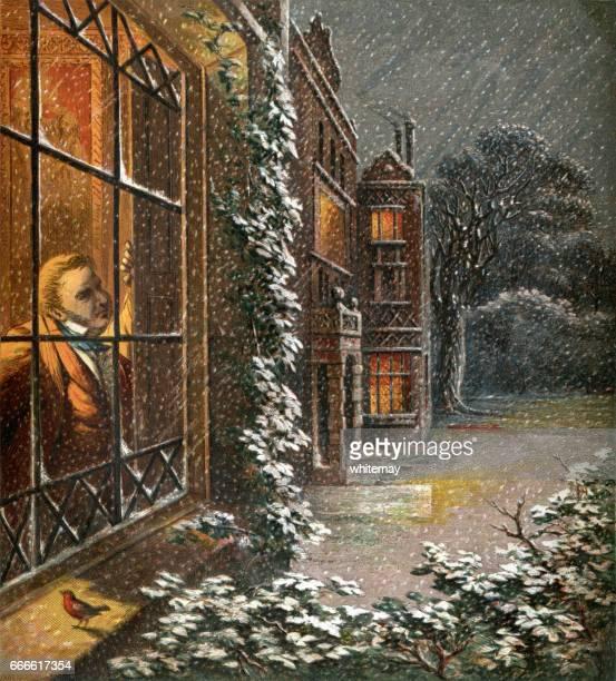 Viktoriansk gentleman tittar ut genom ett fönster på snön