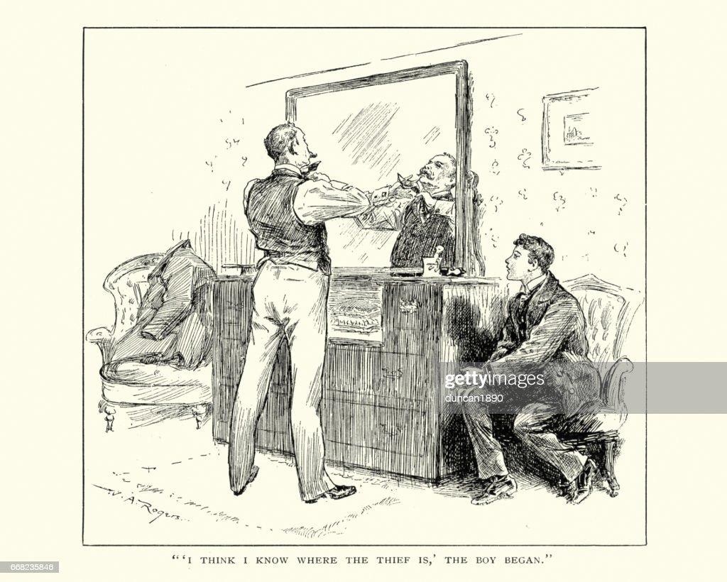 Victorian Gentleman Tying His Tie Stock Illustration Getty Images Diagram
