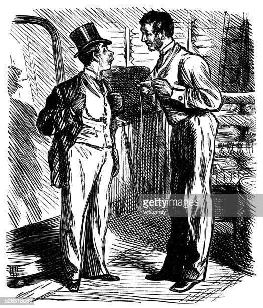 Victorian gentleman visitar o alfaiate