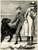 Victorian girl and boy with a large dog