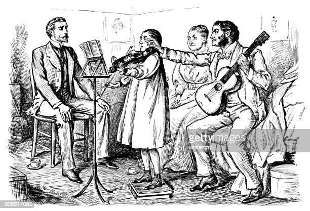 illustrations, cliparts, dessins animés et icônes de pratique persistante de violon fille victorienne - pupitre à musique