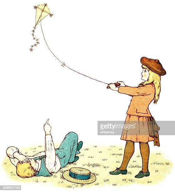 victorian girl flying a kite - kite toy stock illustrations