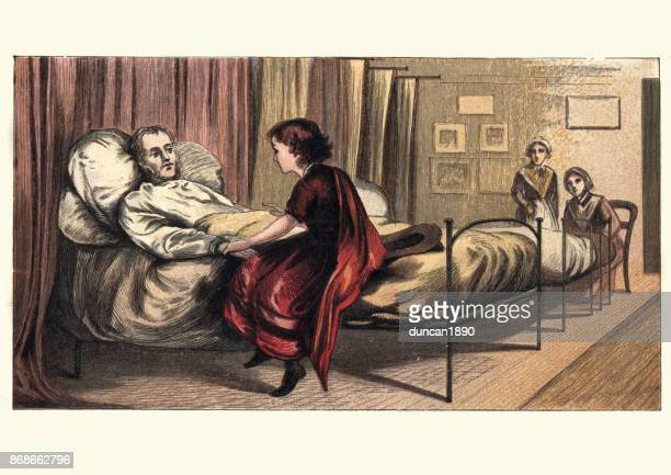Victorian girl visiting her father in hospital, 19th Century