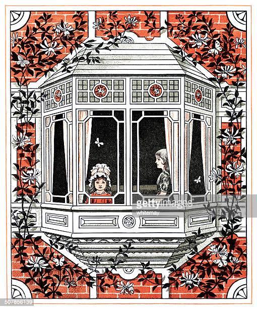 victorian girls at a window - arrowwood stock illustrations, clip art, cartoons, & icons